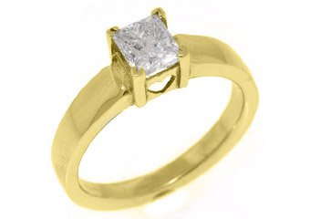 .72CT WOMENS SOLITAIRE PRINCESS SQUARE CUT DIAMOND ENGAGEMENT RING YELLOW GOLD