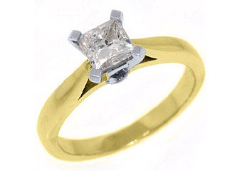 .78CT WOMENS SOLITAIRE PRINCESS SQUARE CUT DIAMOND ENGAGEMENT RING YELLOW GOLD