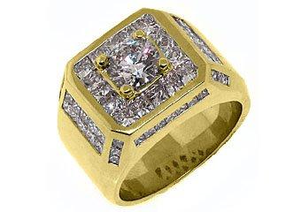 MENS 4.63 CARAT SOLITAIRE ROUND PRINCESS SQUARE CUT DIAMOND RING YELLOW GOLD