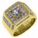MENS 4.63 CARAT SOLITAIRE ROUND PRINCESS SQUARE CUT DIAMOND RING YELLOW GOLD