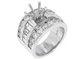 2.55 CARATS WOMENS DIAMOND ENGAGEMENT RING SEMI-MOUNT BAGUETTE CUT WHITE GOLD