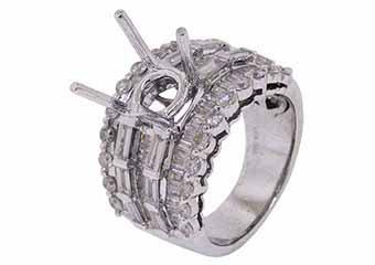 2.89 CARAT WOMENS DIAMOND ENGAGEMENT RING SEMI-MOUNT ROUND CUT WHITE GOLD