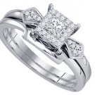 WOMENS DIAMOND PROMISE HALO RING WEDDING BAND BRIDAL SET PRINCESS CUT 1/4 CARATS