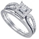 WOMENS DIAMOND ENGAGEMENT HALO RING WEDDING BAND BRIDAL SET PRINCESS CUT 1/4CTS
