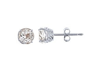 1.12 CARAT WHITE TOPAZ STUD EARRINGS 5mm ROUND 14K WHITE GOLD APRIL BIRTH STONE