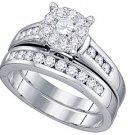 WOMENS DIAMOND ENGAGEMENT RING WEDDING BAND BRIDAL SET ROUND CUT .94 CARAT