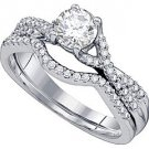 WOMENS DIAMOND ENGAGEMENT RING WEDDING BAND BRIDAL SET ROUND CUT .76 CARAT