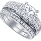 WOMENS DIAMOND ENGAGEMENT RING WEDDING BAND BRIDAL SET PRINCESS CUT 2.02 CARAT