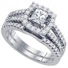 WOMENS DIAMOND ENGAGEMENT HALO RING WEDDING BAND BRIDAL SET PRINCESS CUT 1 CARAT