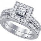 WOMENS DIAMOND ENGAGEMENT HALO RING WEDDING BAND BRIDAL SET PRINCESS CUT 1.02CTS