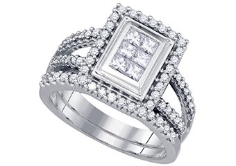 WOMENS DIAMOND ENGAGEMENT HALO RING WEDDING BAND BRIDAL SET PRINCESS CUT .98CTS