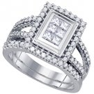 WOMENS DIAMOND ENGAGEMENT HALO RING WEDDING BAND BRIDAL SET PRINCESS CUT .98CTS