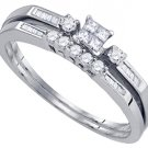 WOMENS DIAMOND PROMISE RING WEDDING BAND BRIDAL SET PRINCESS CUT .29 CARATS