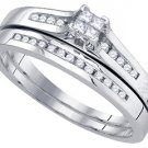 WOMENS DIAMOND ENGAGEMENT RING WEDDING BAND BRIDAL SET PRINCESS CUT .30 CARATS