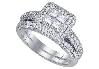 WOMENS DIAMOND ENGAGEMENT HALO RING WEDDING BAND BRIDAL SET PRINCESS CUT 1.28CT