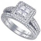 WOMENS DIAMOND ENGAGEMENT HALO RING WEDDING BAND BRIDAL SET PRINCESS CUT 1.28CT