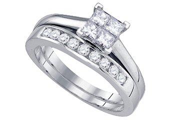 WOMENS DIAMOND ENGAGEMENT RING WEDDING BAND BRIDAL SET PRINCESS CUT .75 CARAT