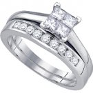 WOMENS DIAMOND ENGAGEMENT RING WEDDING BAND BRIDAL SET PRINCESS CUT .75 CARAT