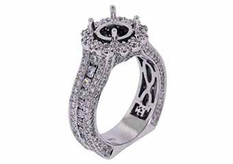 3.09 CARAT WOMENS DIAMOND HALO ENGAGEMENT RING SEMI-MOUNT ROUND CUT WHITE GOLD