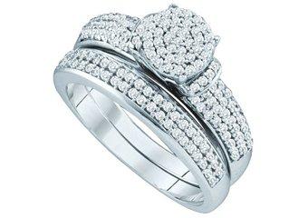 WOMENS DIAMOND ENGAGEMENT RING WEDDING BAND SET ROUND CUT 1/2 CARAT MICRO-PAVE
