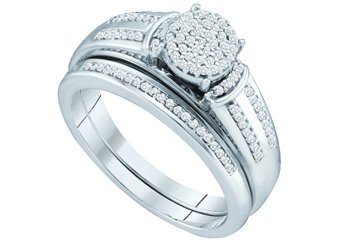WOMENS DIAMOND PROMISE RING WEDDING BAND BRIDAL SET ROUND SHAPE MICRO-PAVE 10K