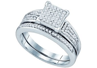 WOMENS DIAMOND PROMISE RING WEDDING BAND BRIDAL SET SQUARE SHAPE MICRO-PAVE