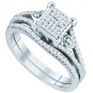 WOMENS DIAMOND ENGAGEMENT RING WEDDING BAND BRIDAL SET PRINCESS SHAPE MICRO-PAVE