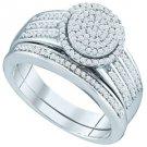 WOMENS DIAMOND ENGAGEMENT RING WEDDING BAND BRIDAL SET ROUND SHAPE MICRO-PAVE