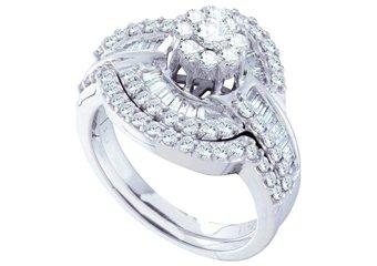 WOMENS DIAMOND ENGAGEMENT RING WEDDING BAND BRIDAL SET ROUND CUT 1.2 CTS FLOWER