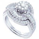 WOMENS DIAMOND ENGAGEMENT RING WEDDING BAND BRIDAL SET ROUND CUT 1.2 CTS FLOWER