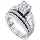 WOMENS DIAMOND ENGAGEMENT RING WEDDING BAND BRIDAL SET PRINCESS SHAPE ROUND CUT
