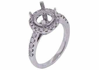 .55 CARAT WOMENS DIAMOND HALO ENGAGEMENT RING SEMI-MOUNT ROUND CUT WHITE GOLD