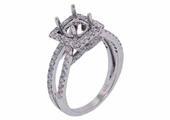 1.08 CARAT WOMENS DIAMOND HALO ENGAGEMENT RING SEMI-MOUNT ROUND CUT WHITE GOLD