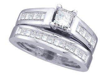 WOMENS DIAMOND ENGAGEMENT RING WEDDING BAND BRIDAL SET PRINCESS CUT 2 CARAT