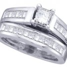 WOMENS DIAMOND ENGAGEMENT RING WEDDING BAND BRIDAL SET PRINCESS CUT 2 CARAT