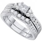 WOMENS DIAMOND ENGAGEMENT RING WEDDING BAND BRIDAL SET PRINCESS CUT 1 CARAT