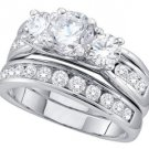 WOMENS DIAMOND ENGAGEMENT 3-STONE RING WEDDING BAND BRIDAL SET ROUND 2.5 CARAT