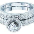 WOMENS DIAMOND ENGAGEMENT HALO RING WEDDING BAND BRIDAL SET ROUND MICRO PAVE