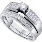 WOMENS DIAMOND ENGAGEMENT RING WEDDING BAND BRIDAL SET .50 CARATS ROUND CUT