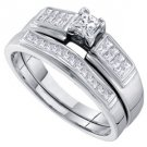 WOMENS DIAMOND ENGAGEMENT RING WEDDING BAND BRIDAL SET .50 CARATS PRINCESS CUT