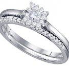 WOMENS DIAMOND ENGAGEMENT PROMISE HALO RING WEDDING BAND BRIDAL SET PRINCESS CUT