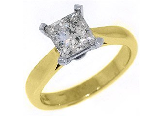 1.52CT WOMENS SOLITAIRE PRINCESS SQUARE CUT DIAMOND ENGAGEMENT RING YELLOW GOLD