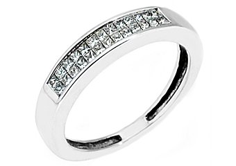 3/5CT WOMENS PRINCESS SQUARE CUT INVISIBLE DIAMOND RING WEDDING BAND WHITE GOLD