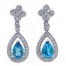 WOMENS 2 CARAT PEAR SHAPE BLUE TOPAZ DIAMOND DANGLE HALO EARRINGS WHITE GOLD