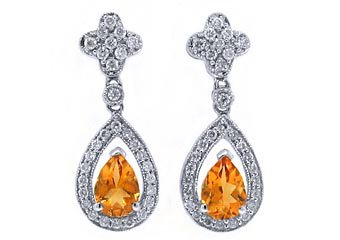 WOMENS 2 CARAT PEAR SHAPE ORANGE TOPAZ DIAMOND DANGLE EARRINGS WHITE GOLD