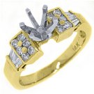 .58 CARAT WOMENS DIAMOND ENGAGEMENT RING SEMI-MOUNT BAGUETTE CUT YELLOW GOLD