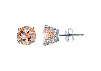 2.5 CARAT MORGANITE STUD EARRINGS EAR RINGS 7mm ROUND CUT 14KT WHITE GOLD