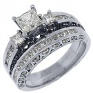 1.88 CARAT WOMENS DIAMOND ENGAGEMENT RING WEDDING BAND BRIDAL SET SQUARE CUT
