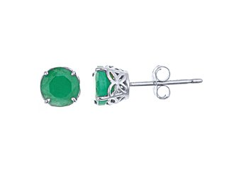 .96CT EMERALD STUD EARRINGS 5mm ROUND WHITE GOLD MAY BIRTH STONE BUTTERFLY SET