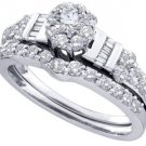 WOMENS DIAMOND ENGAGEMENT RING WEDDING BAND BRIDAL SET 1.06 CARAT ROUND CUT